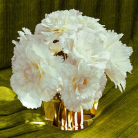 Peonies with butterfly in glass vase