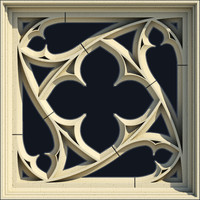 3d small gothic window model