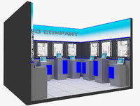kiosk partition booth 3d obj