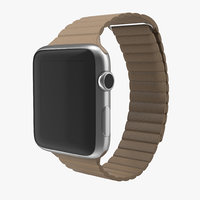 3d model apple watch brown leather