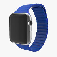 apple watch blue leather 3d obj