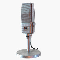 3d model retro microphone electro-voice v-1