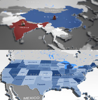 3D WORLDMAP and USA map
