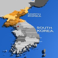 3d north korea world usa states model