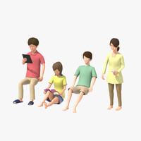 3d family man woman girl