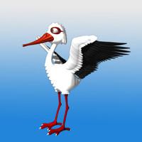 3d model toon stork