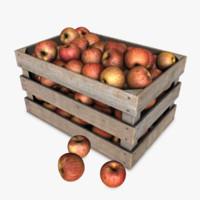 3d crate apples model