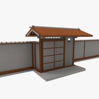 modular asian wall 3d model