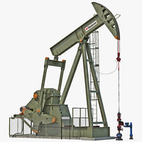 oil pump jack rigged 3d max