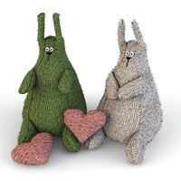 3d model of hares knitted