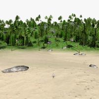 3d island tree palm