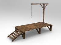 3d wooden gallows