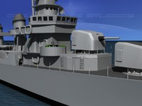 3d model of anti-aircraft fletcher class destroyers