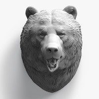 3d bear head sculpture