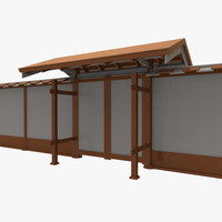 3d model modular asian wall