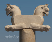 persepolis capital griffin column 3d model