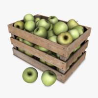 3d model crate apples