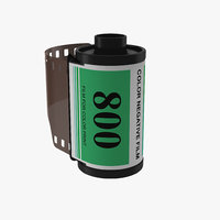 35mm film roll green 3d model