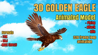 3d model golden eagle animation modeled