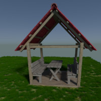 free realistic garden beer house 3d model