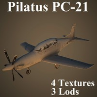 3d model of pilatus air low-poly