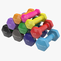 3d dumbbell weights set generic model