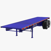 3d flatbed trailer generic