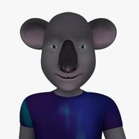cartoon character hipster koala c4d