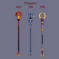 weapon magic stick 3d model