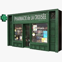 typical paris shop facade 3d model