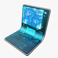 laptop hologram 3d model