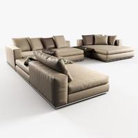 modular sofas hamilton minotti 3d model