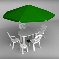 3d set garden plastic furniture model