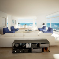 living room seaview obj