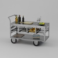 3d model of bar cart halford industrial