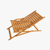 deckchair chair wood 3d model