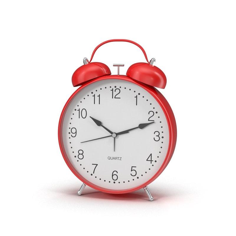 Alarm red round table bedroom clock round classic time quartz0000.jpg
