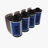 35mm film roll blue 3d model