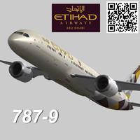 boeing 787-9 etihad 3d max