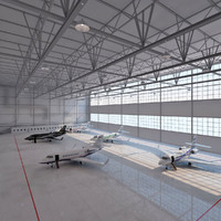 aircrafts hangar 3d model