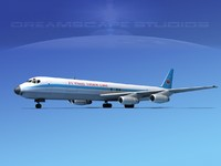 3d douglas dc-8 flying model