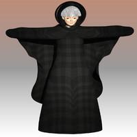 3d model of elderly woman witch