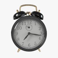 3d vintage black alarm clock
