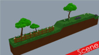 cartoon 2d landscape 3d model