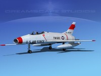 super sabre f-100 jet fighter 3d model