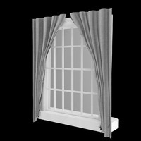 3d model of window glass frame curtains