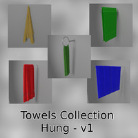 hung towels collections 3d blend