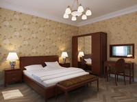 bedroom interior bed 3d obj