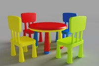 table chair kids 3d 3ds