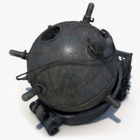 3d model of sea naval mines